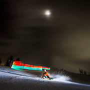 Photoshoot in Powder Mountain, Utah, using a Pixelstick to create the light painting.