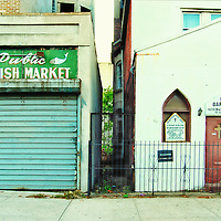 Old Fish Market and Baptist Church in Harlem, New York City