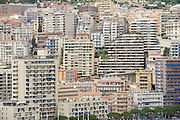 MONACO, MONACO - JUNE 17, 2015: View to the buildings of Monte Carlo from the viewpoint at the Prince's Palace of Monaco (Monaco - Ville) in Monaco, Monaco.