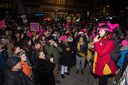 London, UK. 11th December, 2018. One of the Stansted 15 addresses protesters gathered outside the Home Office to protest against their conviction using an anti-terrorism offence under the Aviation and Maritime Security Act 1990 following non-violent direct action to try to prevent a Home Office deportation flight carrying immigrants to Nigeria, Ghana and Sierra Leone from taking off from Stansted airport in March 2017. The judge directed the jury to disregard evidence put forward in their defence that their acts were intended to stop human rights abuses.