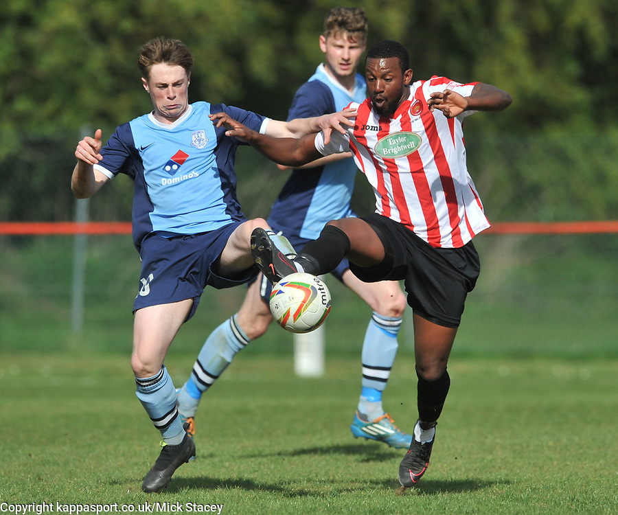 KEMPSTON ROVERS JAMAINE IVY BETS OF FLEETS BEN TOYE, Kempston Rovers v Fleet Town, Evostick Southern League Central Saturday 15th April 2017. Score 3-1. Photo:Mike Capps