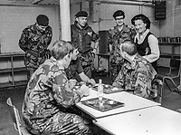 Coleeen Rees, wife, N Ireland Secretary of State, visiting troops in their quarters in West Belfast, during the Troubles, 16th August 1974. This particular visit was to the Broadway army post at the Royal Victoria Hospital. 197408160446b<br />