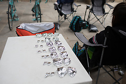 Giusfredi Bianchi Cycling Team race snacks are lined up before the Durango-Durango Emakumeen Saria - a 113 km road race, starting and finishing in Durango on May 16, 2017, in the Basque Country, Spain.