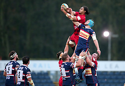 Chris Vui of Bristol Rugby beats Alex Shaw of Doncaster Knights to the ball at a line out - Mandatory by-line: Robbie Stephenson/JMP - 02/12/2017 - RUGBY - Castle Park - Doncaster, England - Doncaster Knights v Bristol Rugby - Greene King IPA Championship