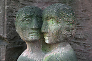 Couple with expressions of sadness, from the Block der Frauen or Block of Women sculpture, by Ingeborg Hunzinger, erected 1995, Rosenstrasse, Mitte, Berlin, Germany. The sculpture is a memorial to the Jewish women's protest in 1943 against the arrest of their husbands by the SS, and resulted in their release. Picture by Manuel Cohen