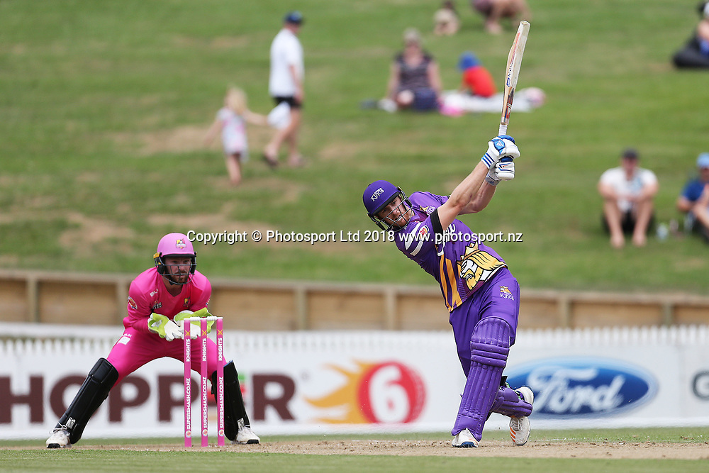 Kings Michael Pollard batting during the Burger King Super Smash Twenty20 cricket match Knights v Kings played at Seddon Park, Hamilton, New Zealand on Sunday 14 January 2018.<br /> <br /> Copyright photo: &copy; Bruce Lim / www.photosport.nz