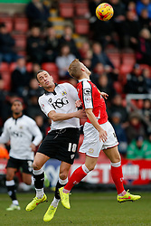 Aaron Wilbraham of Bristol City and Harry Davis of Crewe Alexandra compete in the air - Photo mandatory by-line: Rogan Thomson/JMP - 07966 386802 - 20/12/2014 - SPORT - FOOTBALL - Crewe, England - Alexandra Stadium - Crewe Alexandra v Bristol City - Sky Bet League 1.