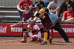 09 May 2014:  Katy LaCivita during an NCAA Missouri Valley Conference (MVC) Championship series women's softball game between the Loyola Ramblers and the Illinois State Redbirds on Marian Kneer Field in Normal IL