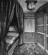 Sleeping compartment on the Orient Express. Wood engraving published Leipzig c1895.