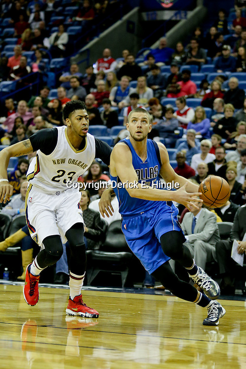 Jan 6, 2016; New Orleans, LA, USA; Dallas Mavericks forward Chandler Parsons (25) drives past New Orleans Pelicans forward Anthony Davis (23) during the first quarter of a game at the Smoothie King Center. Mandatory Credit: Derick E. Hingle-USA TODAY Sports
