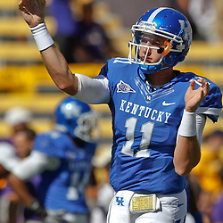 October 1, 2011; Baton Rouge, LA, USA;  Kentucky Wildcats quarterback Maxwell Smith (11) prior to kickoff of a game against the LSU Tigers at Tiger Stadium.  Mandatory Credit: Derick E. Hingle-US PRESSWIRE / © Derick E. Hingle 2011