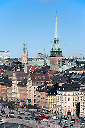 View from above of historical district of Gamla stan in central Stockholm Sweden 2009