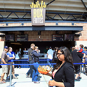 Fans buy fast food during the New York Mets V San Francisco Giants Baseball game at Citi Field, Queens, New York. 21st April 2012. Photo Tim Clayton