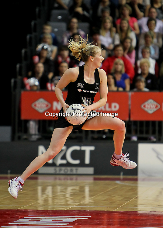 New Zealand's Camilla (Millie) Lees in action during the New World Quad Series - Silver Ferns v Australian Diamonds, 1 November 2012.  Photo:  Bruce Lim / www.photosport.co.nz