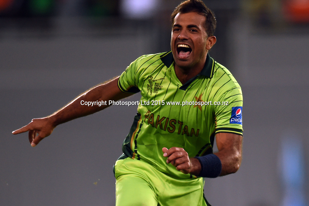 Pakistan bowler Wahab Riaz celebrates a wicket during the ICC Cricket World Cup match between Pakistan and South Africa at Eden Park in Auckland, New Zealand. Saturday 07 March 2015. Copyright Photo: Raghavan Venugopal / www.photosport.co.nz