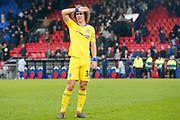 Chelsea defender David Luiz (30) looks to the crowd, searching for a familiar face, after the final whistle during the Premier League match between Crystal Palace and Chelsea at Selhurst Park, London, England on 30 December 2018.