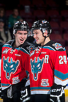 KELOWNA, CANADA - OCTOBER 31: Dillon Dube #19 and Tyson Baillie #24 of Kelowna Rockets line up against the Lethbridge Hurricanes on October 31, 2015 at Prospera Place in Kelowna, British Columbia, Canada.  (Photo by Marissa Baecker/Shoot the Breeze)  *** Local Caption *** Tyson Baillie; Dillon Dube;