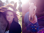 Cheresa Naude, model and equestrian, photographed on horse farm at stables located in Durbanville, Cape Town, South Africa