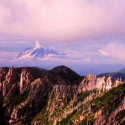 Goat Rocks and Mt. Rainier from Mt. Margaret Backcountry, Mt. St. Helens National Volcanic Monument, Washington, US