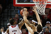 November 30, 2013: Deverell Biggs (1) and Terran Petteway (5) of the Nebraska Cornhuskers and Marin Maric (34) of the Northern Illinois Huskies going for a rebound at the Pinnacle Bank Areana, Lincoln, NE. Nebraska defeated Northern Illinois 63 to 58.