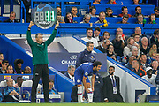 SUBSTITUTION, Chelsea midfielder Pedro (11) comes on for injured Chelsea midfielder Mason Mount (19) (not in picture) during the Champions League match between Chelsea and Valencia CF at Stamford Bridge, London, England on 17 September 2019.