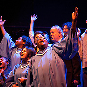 (03/22/2011 JERUSALEM) P. Michael Williams (center) croons along with American and Palestinian members of the cast in Passages of Martin Luther King on opening night at the National Palestinian Theater in Jerusalem.[WILLIE J. ALLEN JR.]