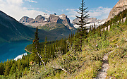 Hike the trail to Marvel Lake, in Banff National Park, Alberta, Canada (along the trail to reach Mount Assiniboine). See Mount Gloria, Eon Mountain (with sharp point, 3310m/10,860 feet), and Aye Mountain (right, 3243meters/10640 feet). This is part of the Canadian Rocky Mountain Parks World Heritage Site declared by UNESCO in 1984.