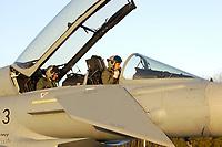 """03 NOV 2003, LAAGE/GERMANY:<br /> Piloten in einem Eurofighter EF 2000 """"Typhoon"""" hier die zweisitzigen Ausbildungsversion, neues Jagdflugzeug der Bundesluftwaffe, kurz vor dem Start, Jagdgeschwader 73 """"Steinhoff"""", Fliegerhorst Laage<br /> IMAGE: 20031103-01-078<br /> KEYWORDS: Bundeswehr, Bundesluftwaffe, Jet, Kampfflugzueg, am Boden, Pilot"""