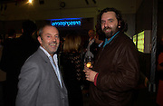 Keith Allen and Keith Tyson, Party to celebrate Damien'Hirst's Pharmacy. Sotheby's. 15 October 2004. ONE TIME USE ONLY - DO NOT ARCHIVE  © Copyright Photograph by Dafydd Jones 66 Stockwell Park Rd. London SW9 0DA Tel 020 7733 0108 www.dafjones.com