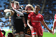 Wasps back row Jack Willis (7) scores a try and celebrates during the Gallagher Premiership Rugby match between Wasps and Saracens at the Ricoh Arena, Coventry, England on 21 February 2020.