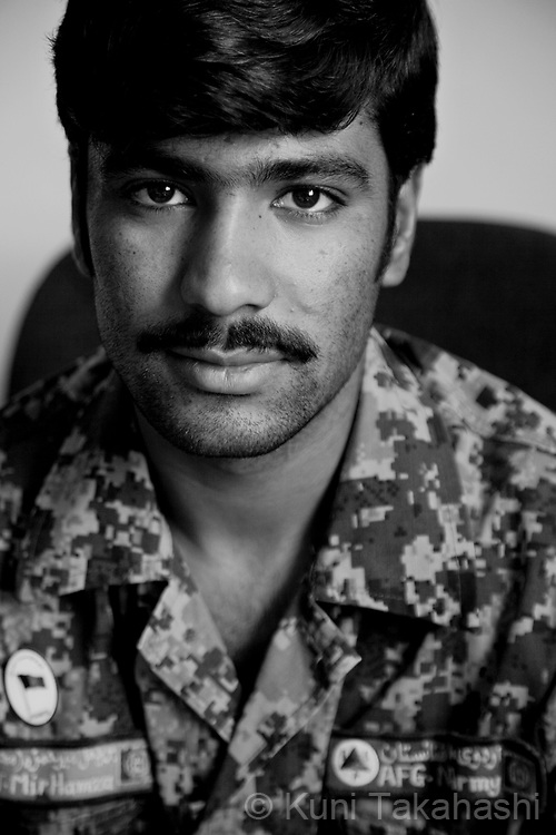 SGT Mir Hamza, 20, Faarah, Afghan National Army.in Kandahar, Afghanistan on Aug 17, 2011.(Photo by Kuni Takahashi)