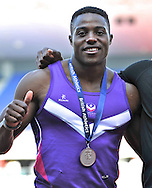 Picture by Alan Stanford/Focus Images Ltd +44 7915 056117<br /> 12/07/2013<br /> Harry Aikines Aryeetey (GBR) 100m pictured with his silver medal on day two of Sainsbury's British Championship at Alexander Stadium, Birmingham.