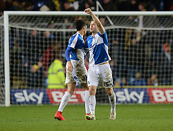 James Clarke of Bristol Rovers celebrates at full time. - Mandatory byline: Alex James/JMP - 17/01/2016 - FOOTBALL - The Kassam Stadium - Oxford, England - Oxford United v Bristol Rovers - Sky Bet League Two