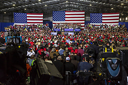 April 28, 2018 - Washington Township, Michigan, U.S. - Washington Township, Michigan USA - 28 April 2018 - President Donald Trump held a campaign rally in Macomb County, Michigan. Trump skipped the annual White House Correspondents' Association dinner to travel to Michigan. (Credit Image: © Jim West via ZUMA Wire)