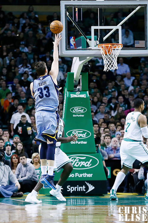 02 January 2013: Memphis Grizzlies center Marc Gasol (33) goes for the skyhook during the Memphis Grizzlies 93-83 victory over the Boston Celtics at the TD Garden, Boston, Massachusetts, USA.