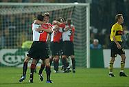 Photo: Gerrit de Heus. Rotterdam. UEFA Cup Final. Feyenoord-Borussia Dortmund. Feyenoordplayers celebrate their victory. Keywords: juichen, winnen, feest