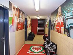 NEWPORT, WALES - Tuesday, September 3, 2019: Be.Football branding in the players' tunnel before during the UEFA Women Euro 2021 Qualifying Group C match between Wales and Northern Ireland at Rodney Parade. (Pic by David Rawcliffe/Propaganda)