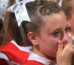 Girl of Viqueens Incredible Junior, Norway (3rd place) in tears during final ceremony at second day of European Cheerleading Championship 2008, on July 6, 2008, in Arena Tivoli, Ljubljana, Slovenia. (Photo by Vid Ponikvar / Sportal Images).