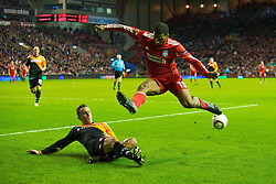 LIVERPOOL, ENGLAND - Wednesday, December 15, 2010: Liverpool's Ryan Babel and FC Utrecht's Tim Cornelisse during the UEFA Europa League Group K match at Anfield. (Photo by: David Rawcliffe/Propaganda)