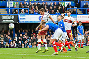 Goal - Matthew Kilgallon (5) of Bradford City scores a goal to give a 0-1 lead to the away team during the EFL Sky Bet League 1 match between Portsmouth and Bradford City at Fratton Park, Portsmouth, England on 28 October 2017. Photo by Graham Hunt.