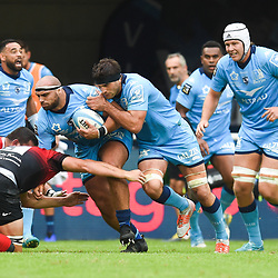 Gregory FITCHEN of Montpellier and and Kelian GALLETIER of Montpellier  during the Top 14 match between Montpellier and Toulouse on October 19, 2019 in Montpellier, France. (Photo by Alexandre Dimou/Icon Sport) - Kelian GALLETIER - Gregory FITCHEN - Altrad Stadium - Montpellier (France)