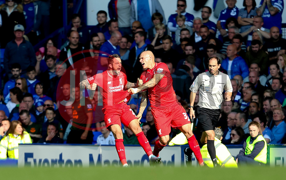 Danny Ings of Liverpool celebrates after scoring the opening goal  - Mandatory byline: Matt McNulty/JMP - 07966 386802 - 04/10/2015 - FOOTBALL - Goodison Park - Liverpool, England - Everton  v Liverpool - Barclays Premier League