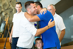 Sani Becirovic and Jasmin Hukic during press conference after Sani Becirovic, Slovenian Basketball player ended his a long and successful career and started as Coach Assistant in Panathinaikos, on July 22, 2015 in Ljubljana, Slovenia. Photo by Vid Ponikvar / Sportida