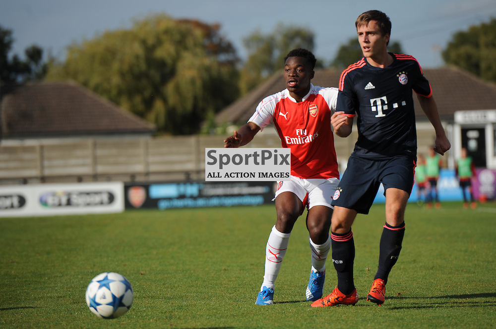 Arsenals Marc Bola attempts to break through the Bayern Munich defence during the Arsenal u19 v Bayern Munich u19 match on Tuesday 20th October 2015 in the UEFA Youth League at Borehamwood