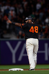 SAN FRANCISCO, CA - AUGUST 05: Pablo Sandoval #48 of the San Francisco Giants celebrates after hitting a double against the Arizona Diamondbacks during the seventh inning at AT&T Park on August 5, 2017 in San Francisco, California. The San Francisco Giants defeated the Arizona Diamondbacks 5-4 in 10 innings. (Photo by Jason O. Watson/Getty Images) *** Local Caption *** Pablo Sandoval