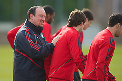 LIVERPOOL, ENGLAND - Wednesday, March 17, 2010: Liverpool's manager Rafael Benitez and Emiliano Insua training at Melwood Training Ground ahead of the UEFA Europa League Round of 16 2nd Leg match against LOSC Lille Metropole. (Photo by David Rawcliffe/Propaganda)