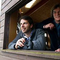 Scottish Wildlife Trust Ambassador Mark Beaumont visits Loch of the Lowes Wildlife Reserve, Perthshire. He is pictured with Rab Potter North East Reserves Manager<br /> Picture by Graeme Hart.<br /> Copyright Perthshire Picture Agency<br /> Tel: 01738 623350  Mobile: 07990 594431