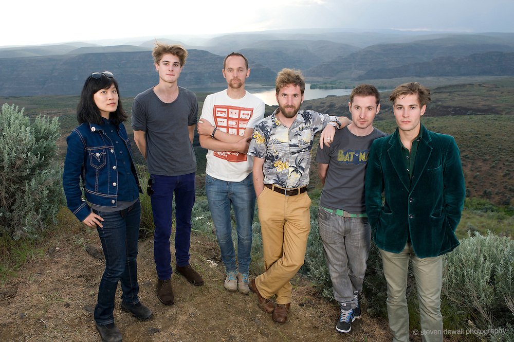 George, WA. - May 30th, 2011 Stornoway pose for a portrait backstage at the Sasquatch Music Festival in George, WA. United States