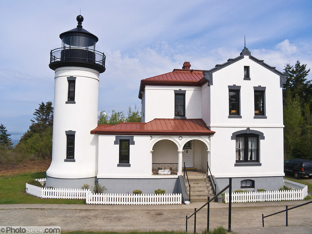 Admiralty Head Lighthouse was built 1890 to help guide ships into Puget Sound, and became obsolete in 1927 when its lantern was removed. Fort Casey State Park is part of Ebey's Landing National Historical Reserve, Whidbey Island, Washington, USA.