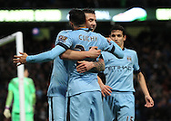 Stevan Jovetic of Manchester City celebrates scoring the third goal against Sunderland during the Barclays Premier League match at the Etihad Stadium, Manchester.<br /> Picture by Michael Sedgwick/Focus Images Ltd +44 7900 363072<br /> 01/01/2015